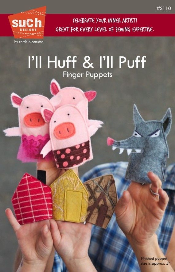 I'll Huff & I'll Puff - Finger Puppet pattern