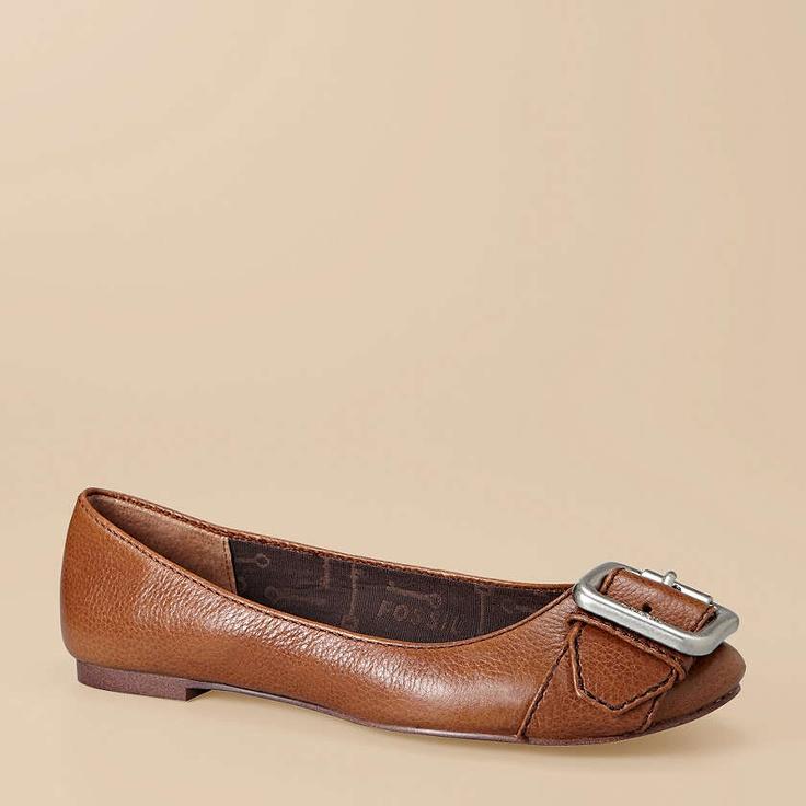 Women's leather upper  zebra print FOSSIL  slip on flats / shoes  sz 8