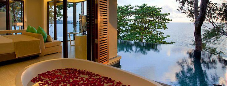 Stunning view from this hotel room! #CeramicaSantAgostino tiles, Pullman Phuket Arcadia Naithon Beach #holidays #pool #nature #designtiles
