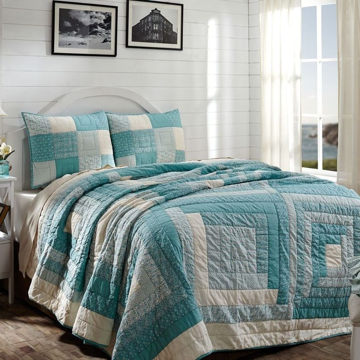 new country cottage chic beach house sea island blue bedspread quilt set queen