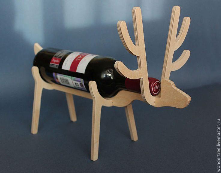 """Купить подставка для бутылки """"олень"""" - бежевый, для бутылки, подставка, декор для интерьера, для кухни, для вина, фанера"""