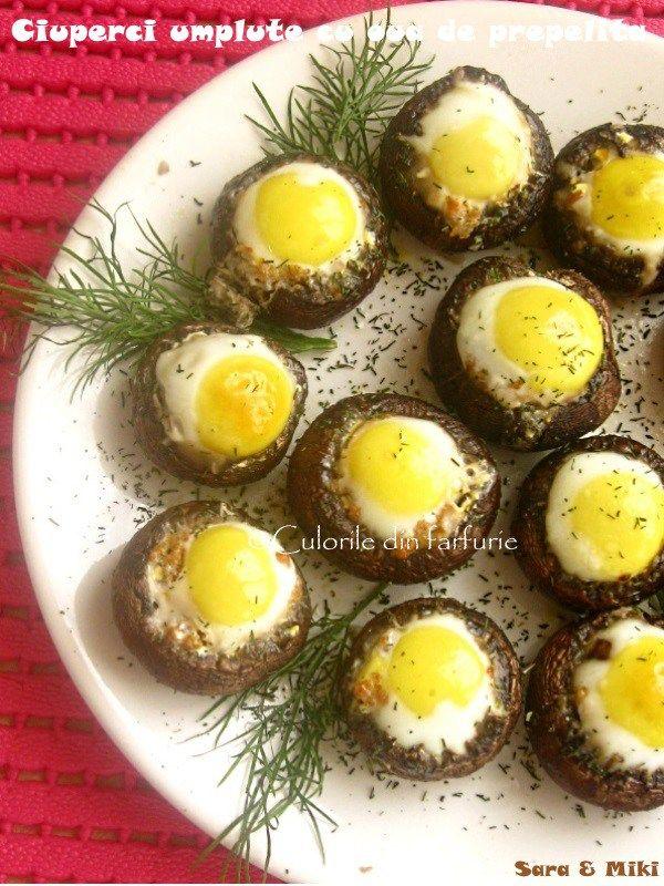 Ciuperci umplute cu oua de prepelita, o mancare ce poate fii servita simpla, pe post de carne langa un orez si o salata alaturi sau drept garnitura.