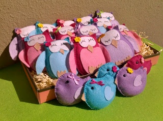 stuffed owls and little birds, baby girl favours