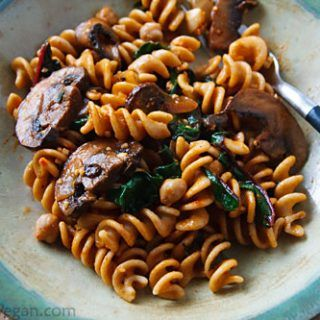Portabella mushrooms combine with Swiss chard and whole wheat pasta for an easy, flavorful, yet healthy vegan pasta dish.