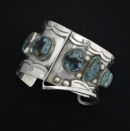Cuff |  Ed Weiner.  Navajo Style in silver and turquoise, ca 1950