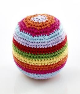 A bright and colourful crocheted ball with a gentle rattle sound. Great first baby toy and rattle all in one. This crocheted toy was handmade by women in Bangla