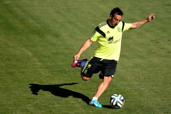 Santi Cazorla of Spain shoots towards goal during a training session of the Spain National Team at the FedexField on June 6, 2014 in Landover, Maryland.