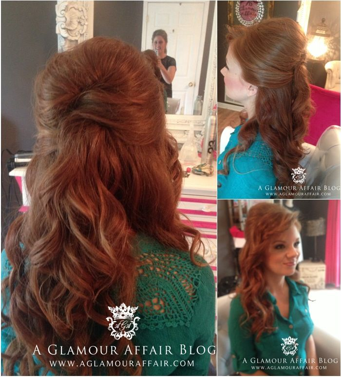 Half Up Down Hairstyle For A Bride Front View And Back Of