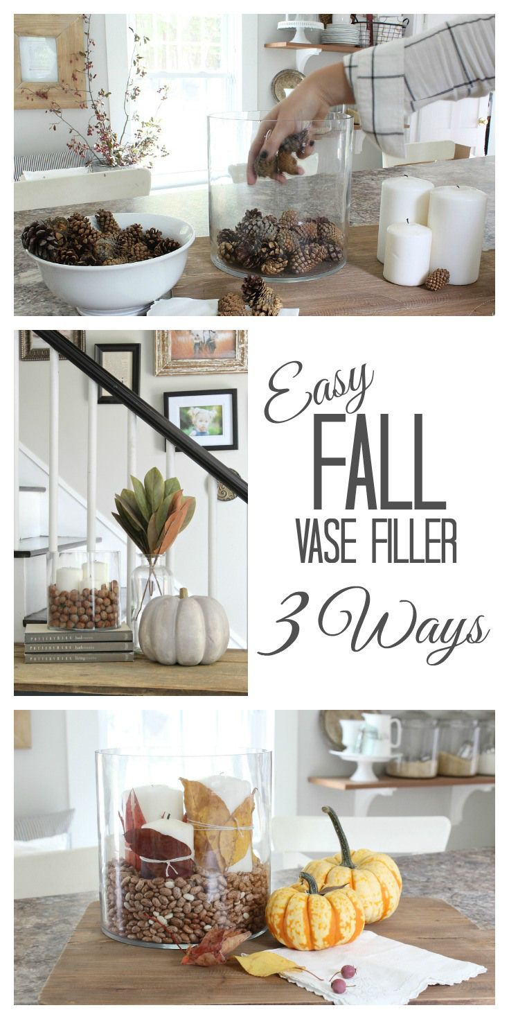 Easy Fall Vase filler: chestnuts, pine cones, and coffee beans