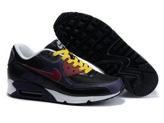 Nike Air Max 90 Black Purple Yellow White Shoes WholesaleNike Womens