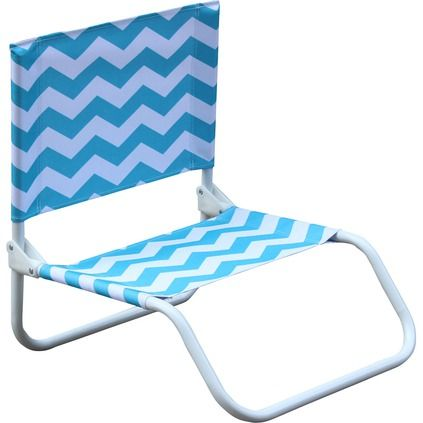 Life's a Beach Folding Beach Chair Blue Chevron