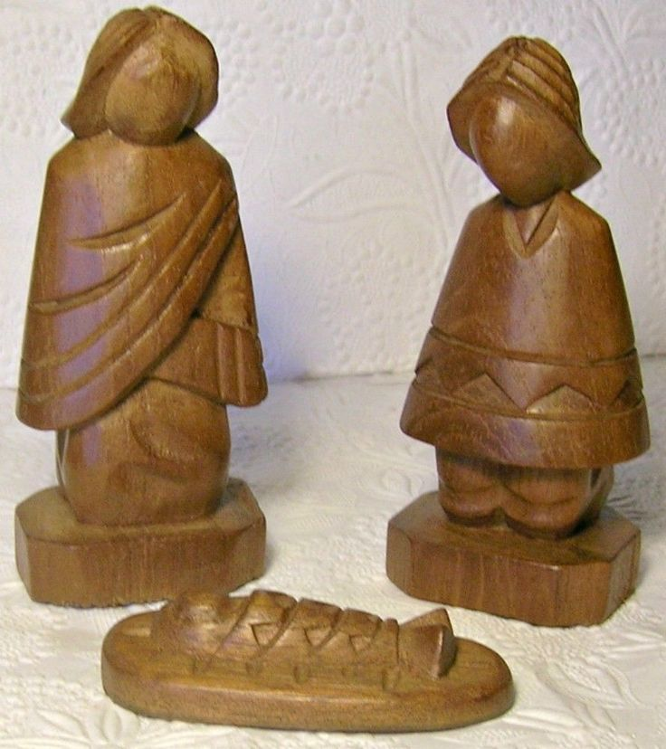 Holy Family Nativity from Ecuador Hand Carved Wooden Figurines 1984  | eBay