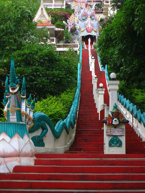 Hoping to make it here - have found a lovely homestay. Think it's a must... Dragon stairs to the temple in Kanchanaburi, Thailand