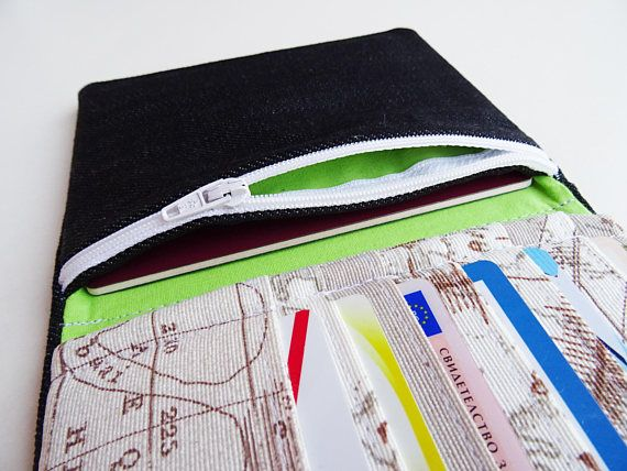 Organize your passports or travel documents with this 100% handmade case. It is perfect solution to carry on your travel essentials. This is all you need to keep your passports, tickets and other travel documents by your side. This passport holder is great and useful travel accessory gift for all travelers.  FABRIC: Main fabric and lining – denim, cotton, microfiber, velcro tape Soft vinyl fabric wadding. SIZE (when closed): = Width - 11 cm ( 4.3 inch) = Height - 14 cm ( 5.5 inch) &...
