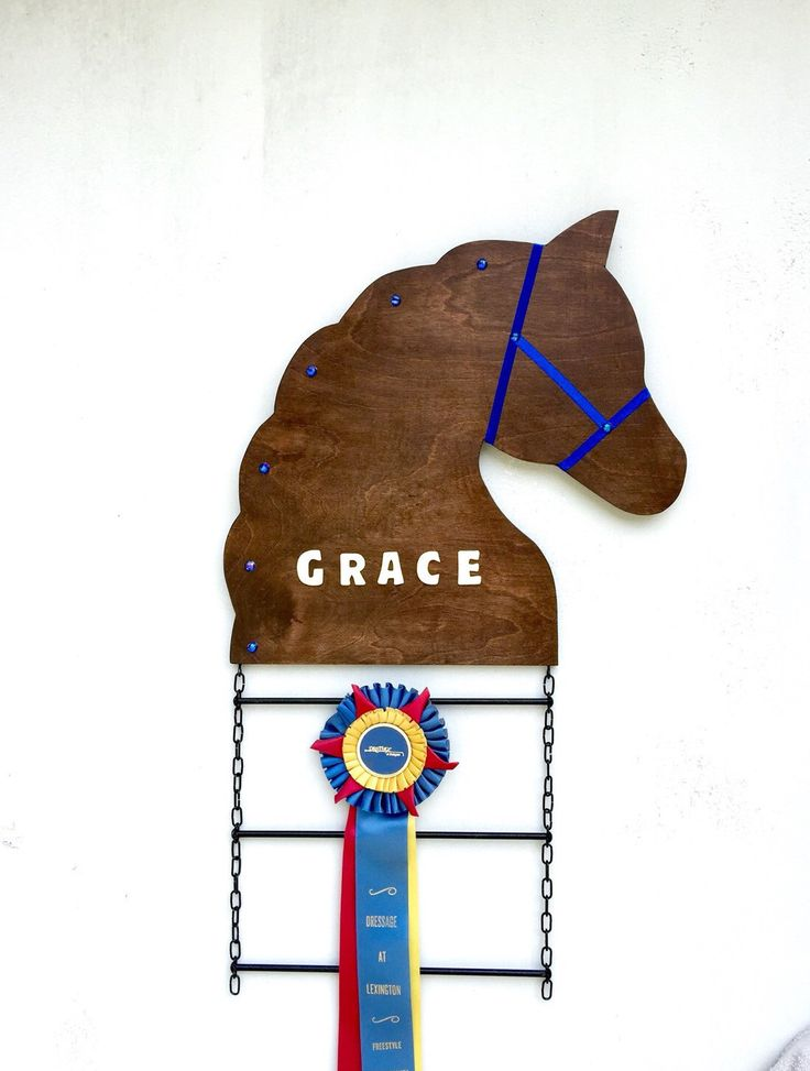 Customized Horse Show Ribbon Display, 3 Ribbon Tiers by CherryEquine on Etsy https://www.etsy.com/listing/227907279/customized-horse-show-ribbon-display-3