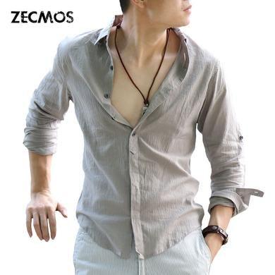 Cotton Linen Shirts Man