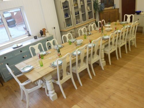 Seater Large Shabby Chique.Dining Table,planked pine top,Triple,Hoopend