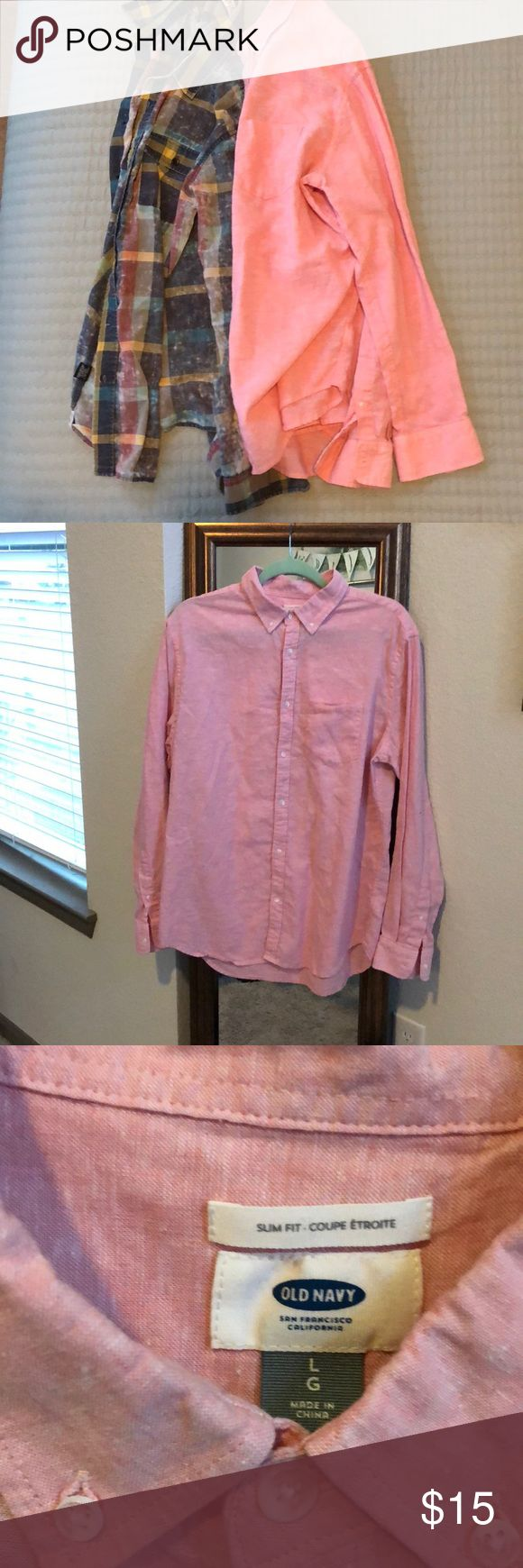 (2) large linen button ups Size = Large  one pink Old Navy and one multi-color checkered Ezekiel  ***used condition*** Old Navy Shirts Casual Button Down Shirts