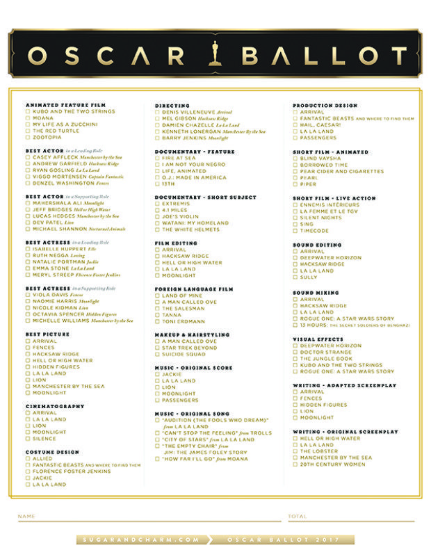 The only 2017 Oscar Ballot Printable you need when voting at your Oscar viewing party! Download and print the popular Sugar and Charm Oscar ballot printable