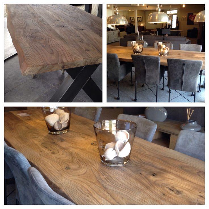 Boomstam tafel !!! Eigen ontwerp , gewaterd en gestraald iepen hout