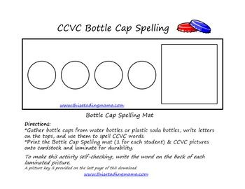 You'll want to collect and save your bottle caps for this one! Place a CCVC picture card in the space on the Bottle Cap Mat. Using bottle caps, spe...