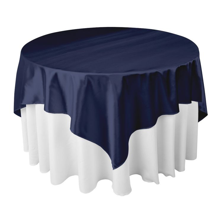 White Table Cloth With Navy Blue Overlay Maybe This
