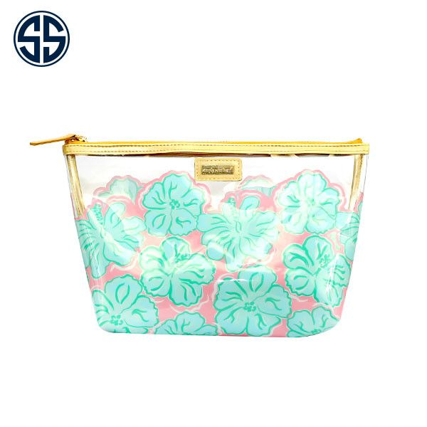 Simply Southern Hibiscus Print Clear Cosmetic Bag