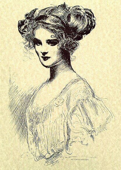 Charles Dana Gibson  per reenie:  I have no idea how they got their hair like that-but I have to admire it!