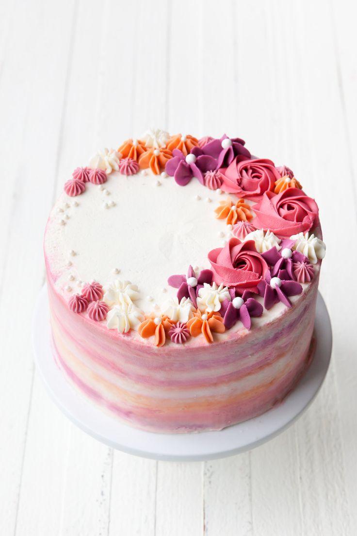 How to Make a Buttercream Flower Cake | Buttercream flower ...