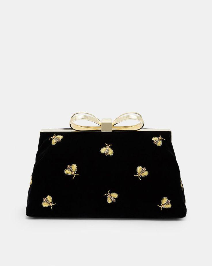 Embellished Bee evening bag - Black | Bags | Ted Baker UK