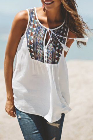 Stylish White Sleeveless Tribal Embroidered Women's Tank Top