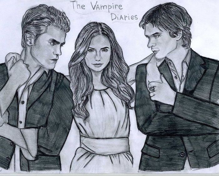 vampire diaries drawing draw tv easy actors drawings damon tvd cool things pencil fan cast fanpop ian sketch sketches background