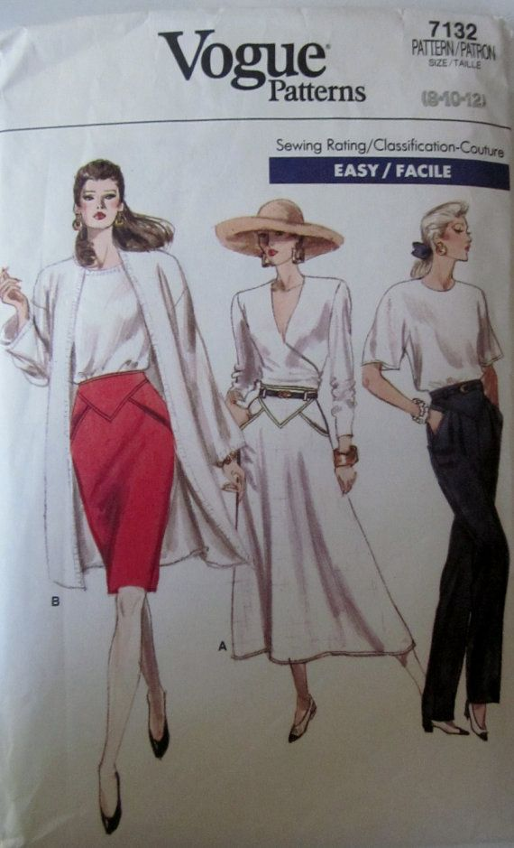 Vogue 7132 Womens 80s Skirt and Pants Pattern Size8 by Denisecraft, $7.99