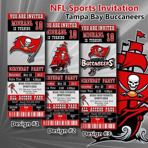 Tampa Bay Buccaneers Birthday Invitation, Football, Ticket Invitation, Sport,Birthday, Digital, Invite Printable 300 dpi JPG, #227