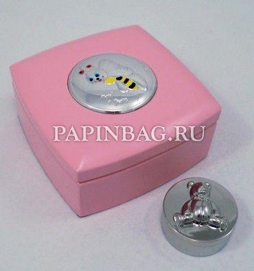 "Коробочка для первого зубика ""Мишка"" (розовый футляр с пчелкой малой), Италия, серебро"