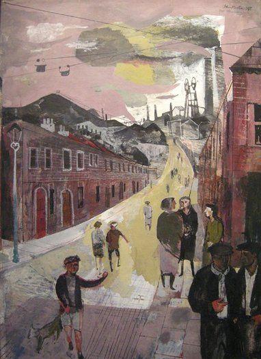 'A Mining Village' (1948) by British painter, graphic artist, & designer John Minton (1917-1957). Watercolour, gouache & ink on board, 15 x 10.75 in. via Offer Waterman