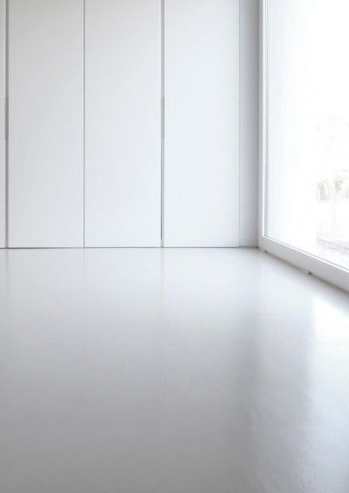 White concrete flooring