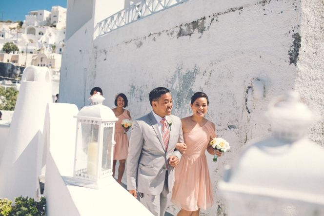 Bridesmaids in Peach Dresses | Santorini Wedding | Design By Stella and Moscha - Exclusive Greek Island Weddings | Photo by Chris Spira | http://www.stellaandmoscha.com