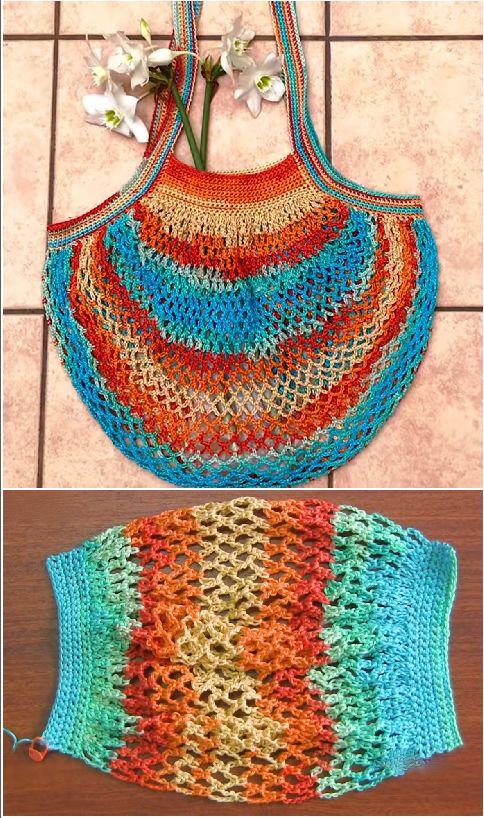 Crochet French Market Bag #bordado #crochet #Crochetpatterns #Knitting