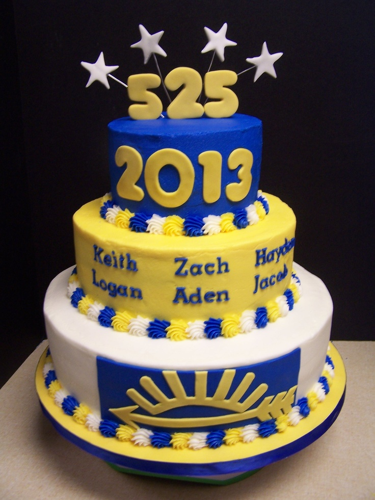 """Congratulations to the boys in Cub Scout Pack 525 who earned their Arrow of Light award last night. Zach, Logan, Hayden, Keith, Jacob, and Aden worked very hard to earn the highest award in Cub Scouts, and we helped them celebrate with cake! 12"""", 9"""", and 6"""" tiers with buttercream and fondant accents."""