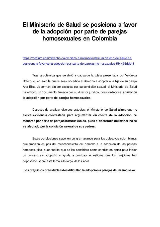 El Ministerio de Salud se posiciona a favor de la adopción por parte de parejas homosexuales en Colombia