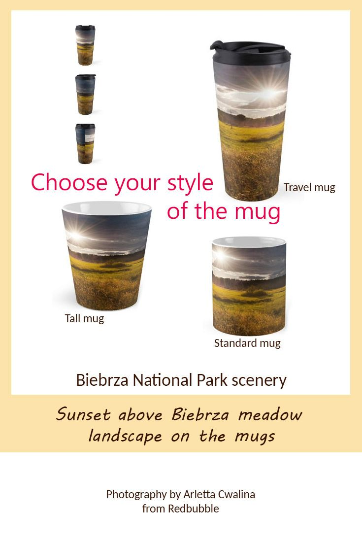 Choose your mug style with sunset above Biebrza National Park landscape in Poland. There are travel mugs, standard or tall mugs products. Nature Photography by Arletta Cwalina/ @redbubble. See more clothes and home decor ideas and if you love it, feel free to share, maybe your friends would like to have it too :) #homedecor #travelmug #mugs #biebrza