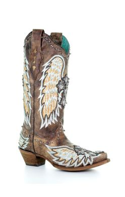 A3495 ld chocolate fish wings & cross inlay chocolate Corral Boots - Cowgirl Clad Company