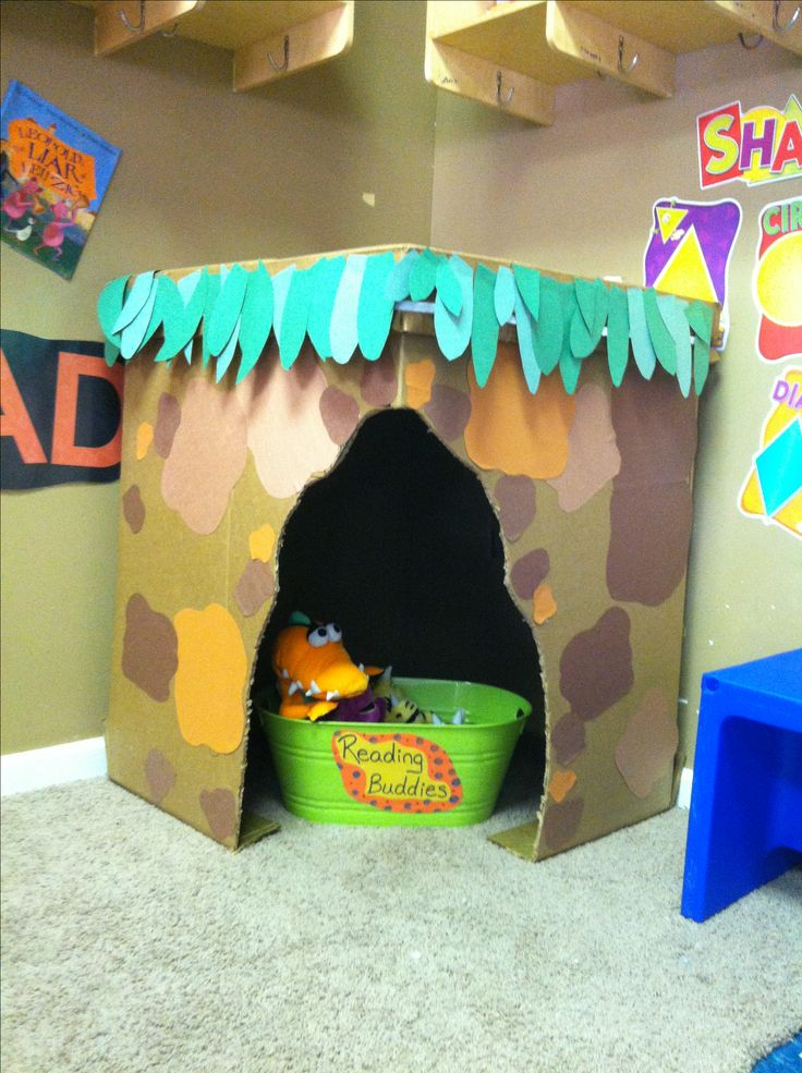 Using a large box, I created a cave for my prek class to use in the library center. Inside is two flashlights and four books on the current theme. They loved it!