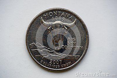 Dollar `Washington Quarter` Montana. `Washington Quarter` - quarter dollar. United States Mint`s 50 State Quarters Program.  Circulating commemorative coin. Quarter Dollar = 25 Cents. Shape - round.