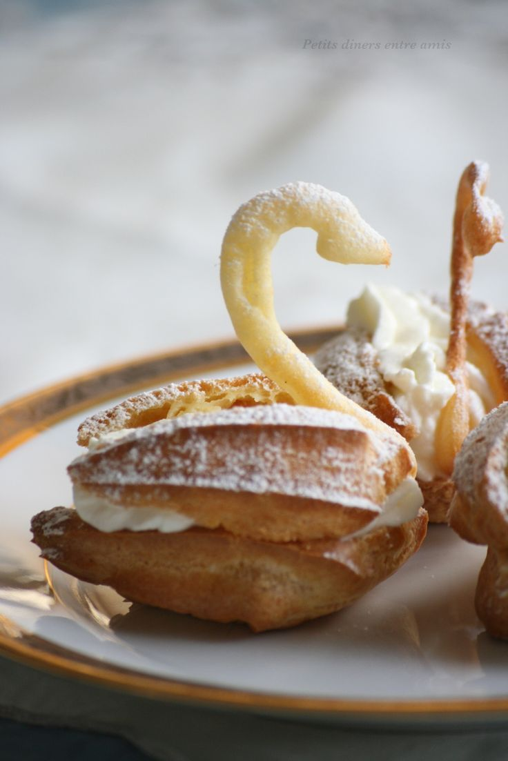 Cygnes chantilly, choux pastry swans filled with Chantilly cream.