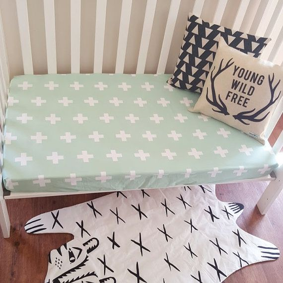 Mint Cross Fitted Crib Cot Sheet by SquishyTotsAU on Etsy