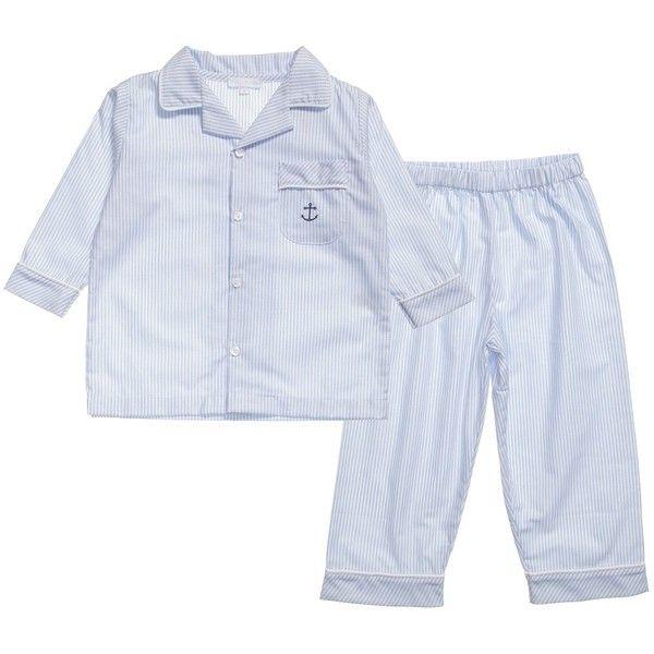 Mini-La-Mode Boys Blue Striped Cotton Pyjamas (150 BRL) ❤ liked on Polyvore featuring baby boy