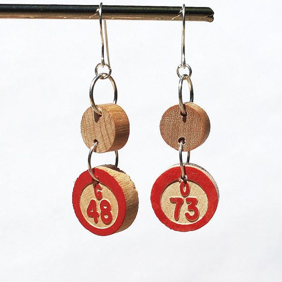 Found Object Jewelry- Upcycled Vintage Bingo Game Piece Earrings