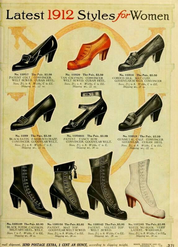 Ladies' shoe styles in 1912.